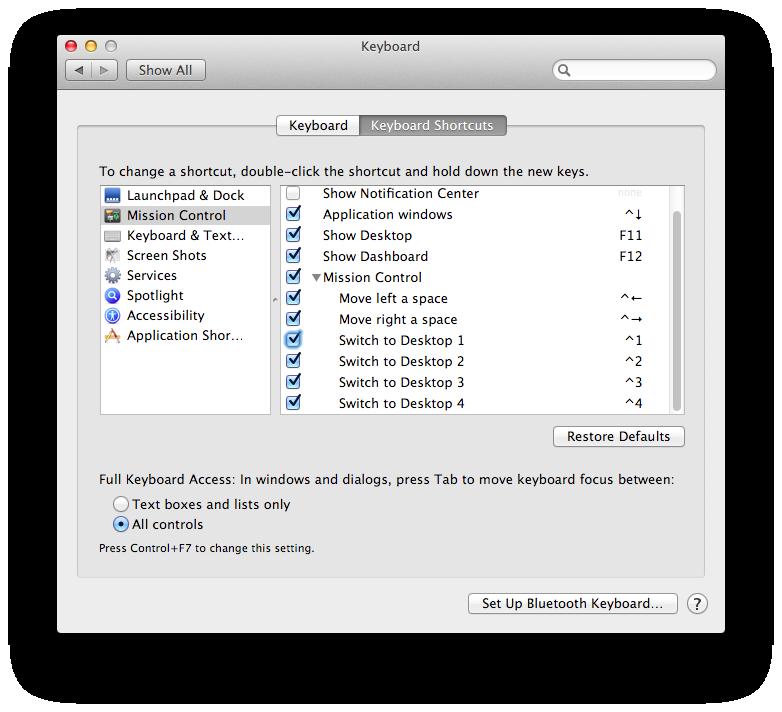 Mission Control keyboard shortcuts